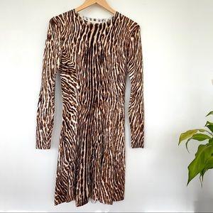 Michael Kors animal print fit & flare midi dress